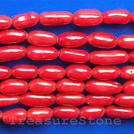 Bead, coral (dyed), red, 5mm oval. TreasureStone Beads Edmonton