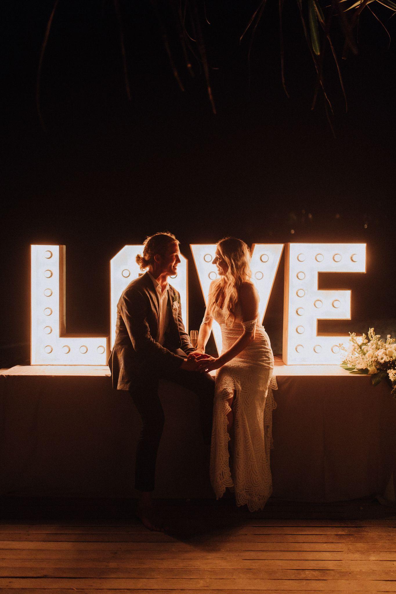 Sandy Bay Nusa Lembongan Bali Beach Wedding of Corbin and Nicola giant light letters decor