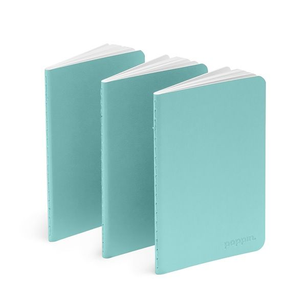 Poppin Aqua Mini Soft Cover Notebooks, Set Of 3 | Desk Accessories | Cool  And