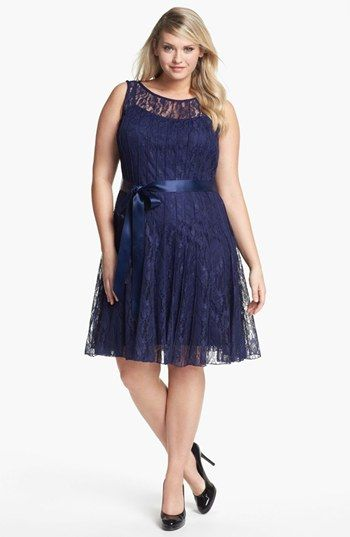 xscape pleated lace fit & flare dress (plus size) available at