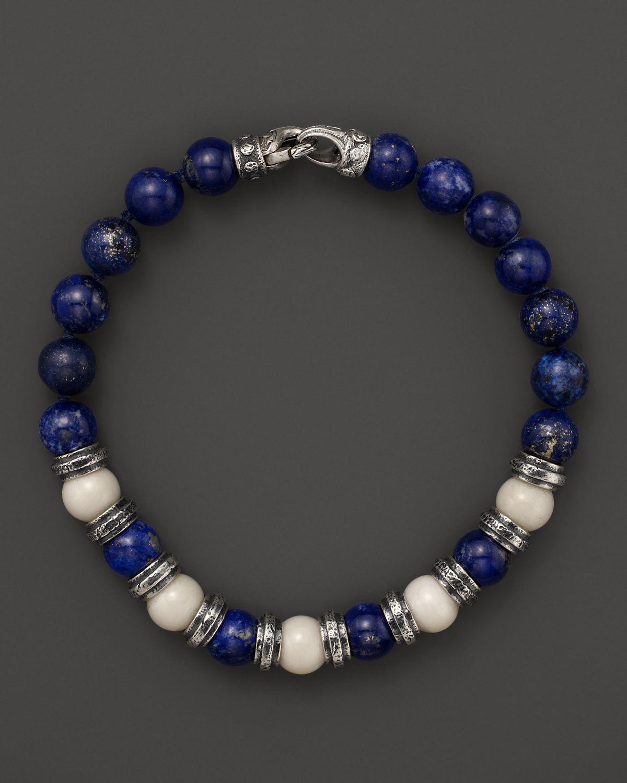 Scott Kay Bone And Lapis Beaded Bracelet In Blue For Men (silver)  Lyst