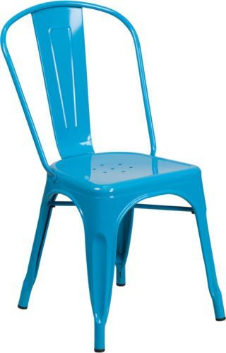 Industrial Style Armless Metal Restaurant Chair In Crystal