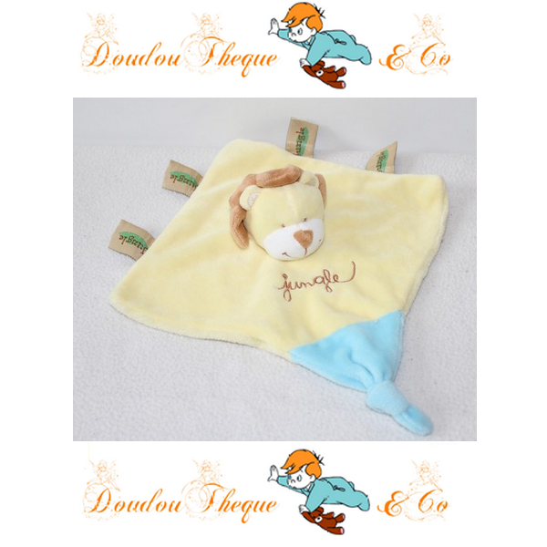 Doudou plat Lion TEX BABY Jungle jaune bleu marionnette 18 cm   TEX ... 32fb06f646a