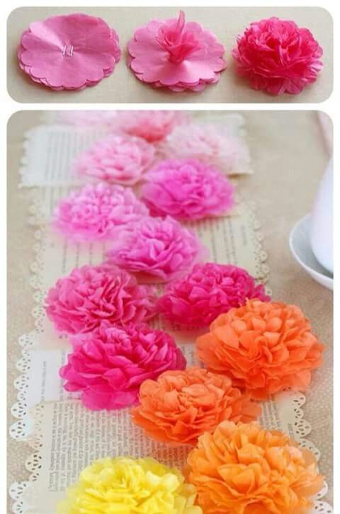 Pin by irene pinto on floral letters pinterest flowers tissue tissue paper flower runner use around 8 sheets of tissue paper for each flower and punched all 8 layers at once staple together your stack of flowers inch mightylinksfo Images