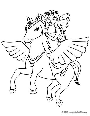 Fairy And Pegasus Coloring Page