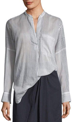 c13fefdde27fcb Vince Pencil Stripe Long-Sleeve Pullover Tunic | Products | Tunic ...