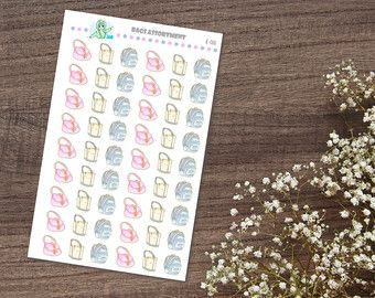 74 Household Chore Icon planner stickers. This sticker sheet is sized to fit in a 3-ring mini binder (such as the ones you can purchase at