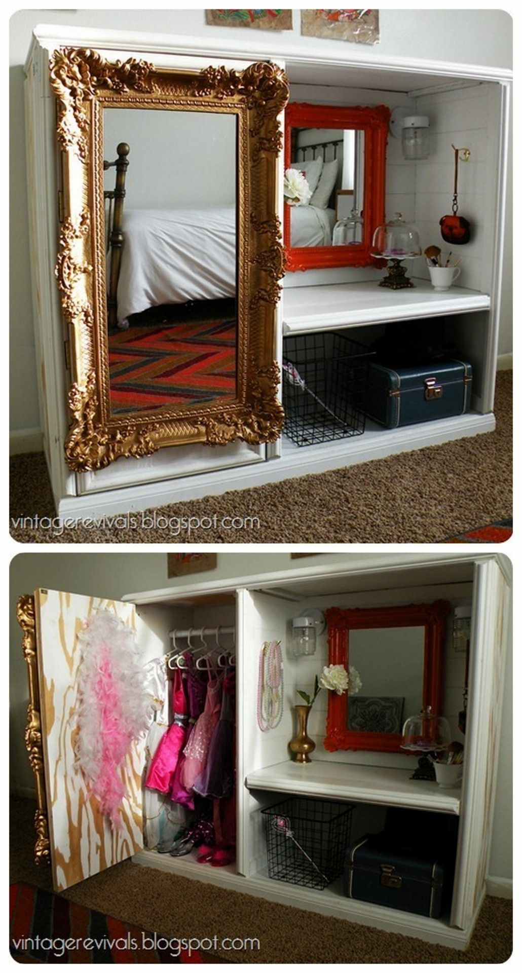 Marvelous Little Girlsu0027 Dress Up Station... Made From An Old Entertainment Center