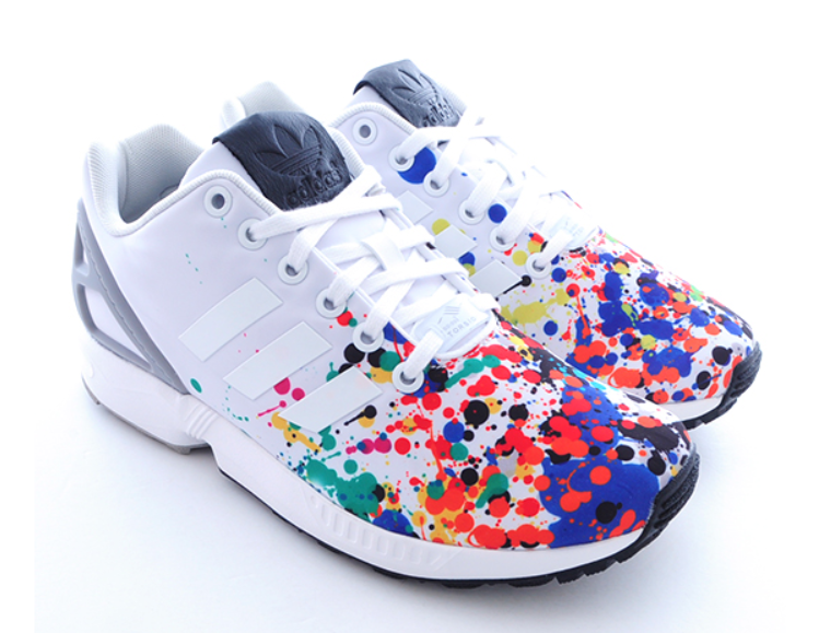 best loved f70f6 5b413 ADIDAS ORIGINALS ZX FLUX WHITE GRAY RAINBOW PRINTED TRAINING B34497 159
