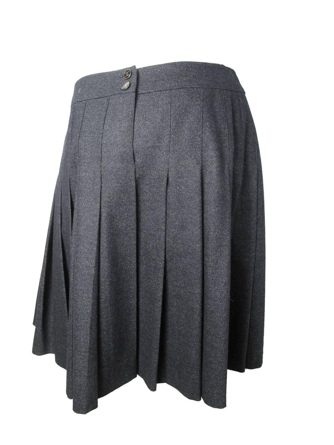 4794ee1a68 Chanel Charcoal Wool Pleated Skirt | From a collection of rare vintage  skirts at https: