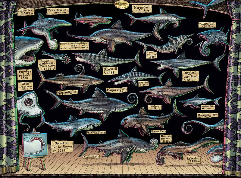 illustration by artist Ray Troll tracing the history of proposed