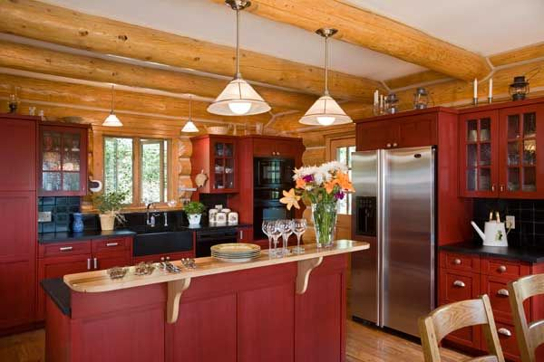 painted cabinets in log cabin - Google Search | Barn red ...