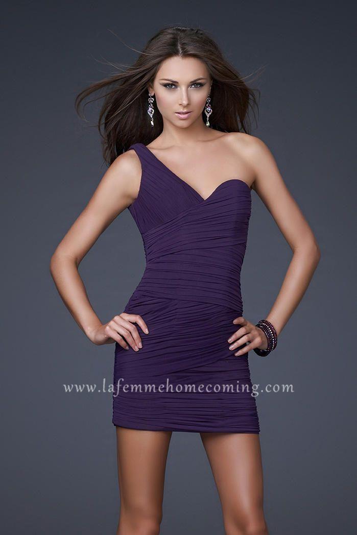 One Shoulder La Femme 15833 Majestic Purple Dresses for Cocktail ...