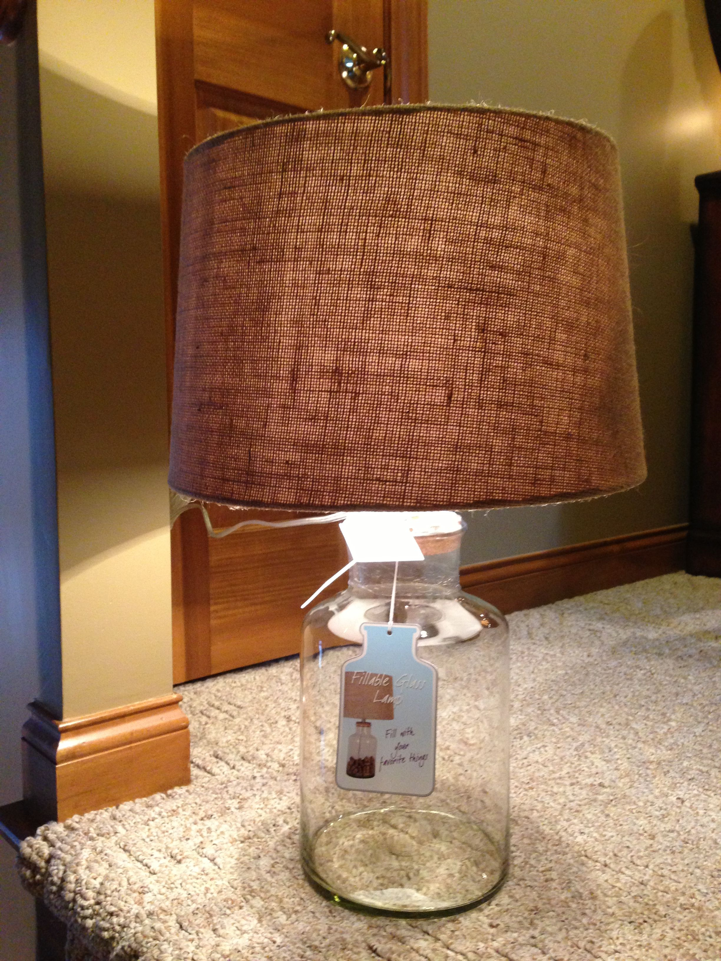 Glass fillable lamp with linen shade