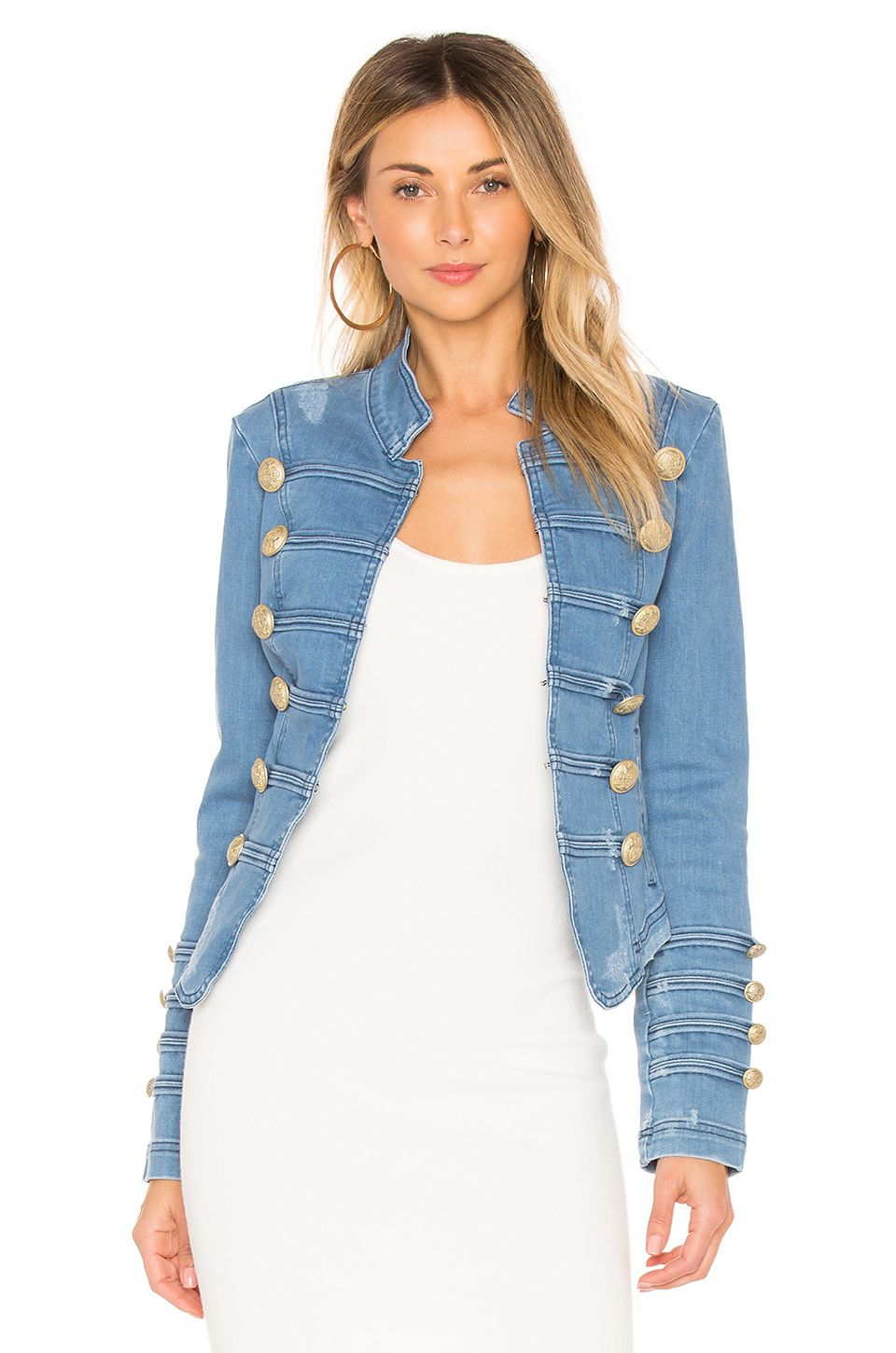 e0ff35ae5a12 FREE PEOPLE FITTED MILITARY DENIM JACKET.  freepeople  cloth ...