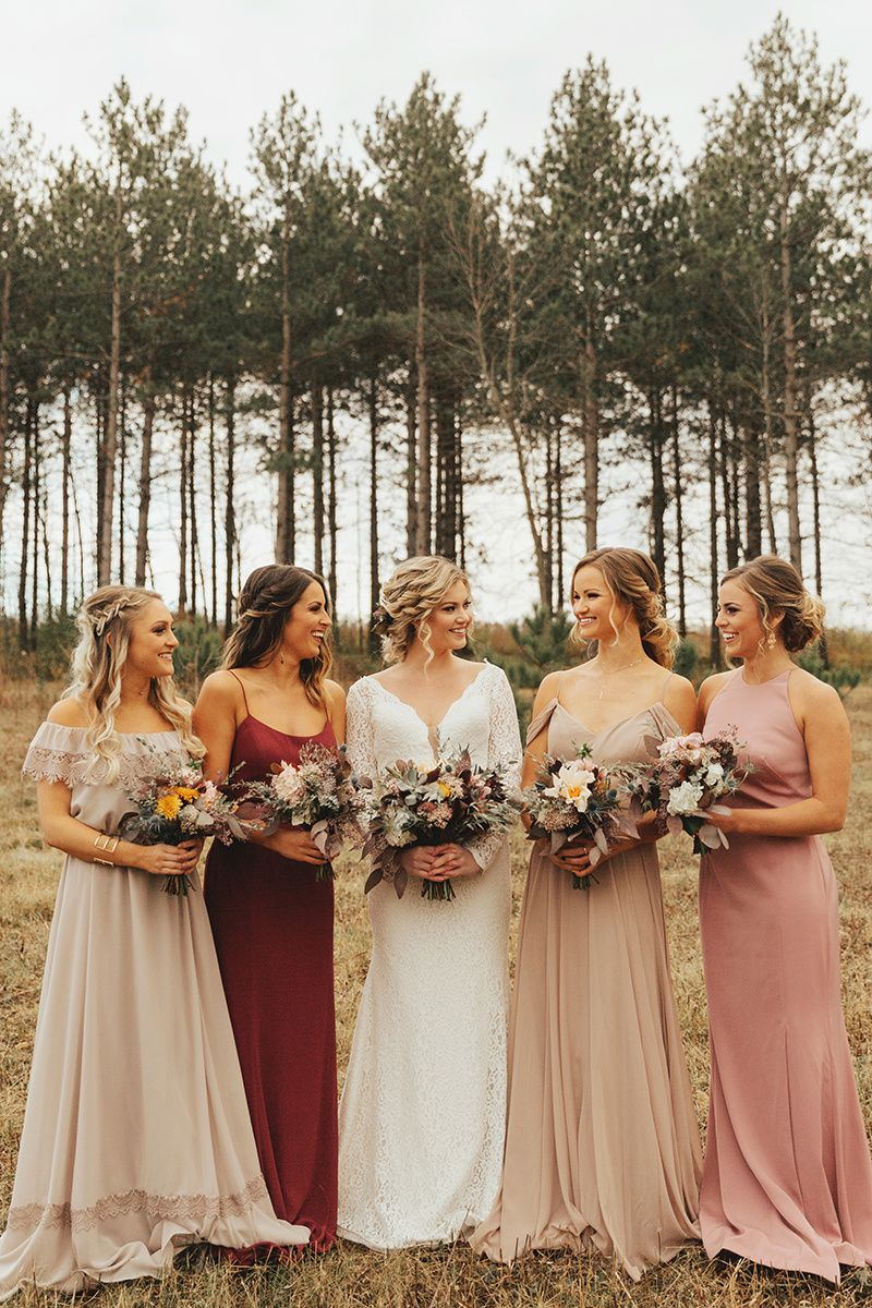 Mismatched Bridesmaids / Fall Wedding Colors / Burgundy & Taupe ...