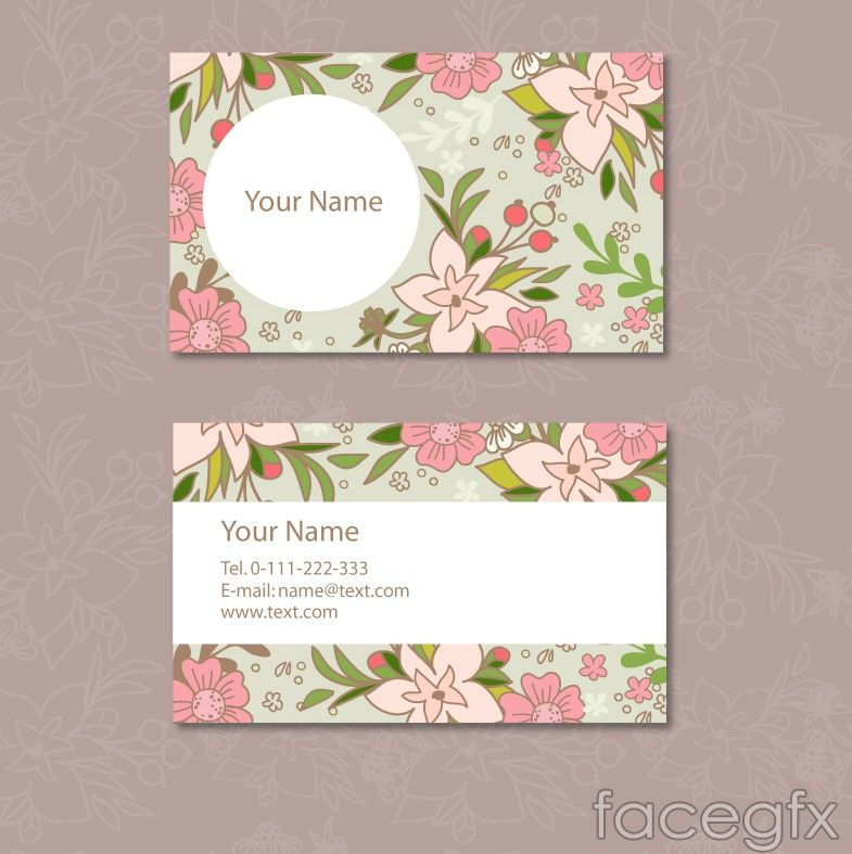 Fresh flower business card design vector | Photoshop Inspirations ...