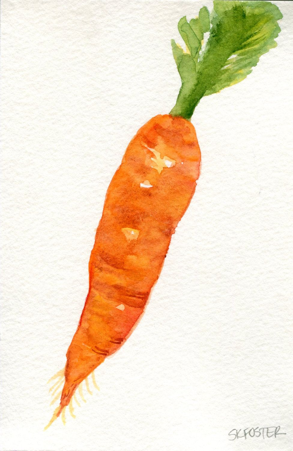 Carrot Watercolors Paintings Original 4 X 6 Vegetable Artwork