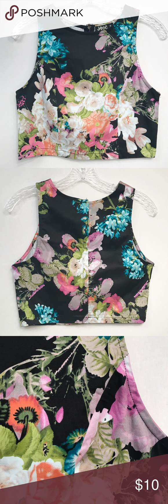 6cfee589316e0 Jaase • Women's Halter Floral Crop Top Size Small Jaase Halter Floral Crop Top  Size Small. Full back zipper. Approximate measurements laying flat • Armpit  ...