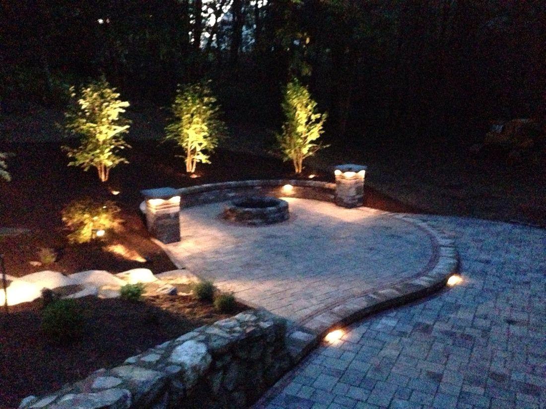 Unilock Patio. Unilock Richcliff Paver. Patio Lighting. Low Voltage Lights.  Landscape Lighting