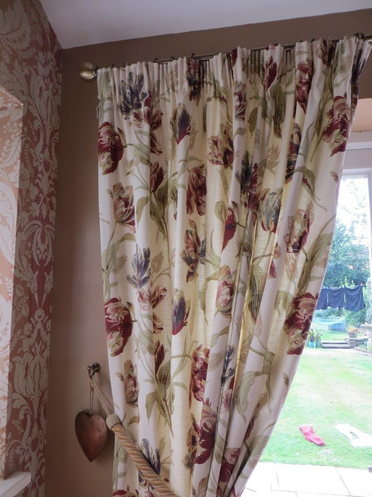 laura ashley ready made gosford cranberry floral curtains. Black Bedroom Furniture Sets. Home Design Ideas