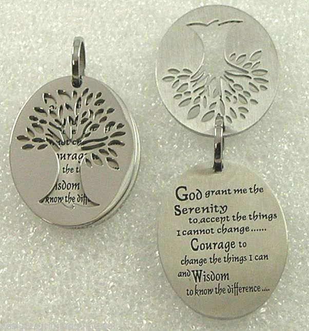 Prayer tree of life pendant necklace stainless steel 18 21 serenity prayer tree of life pendant necklace stainless steel 18 21 inspiration mozeypictures Images