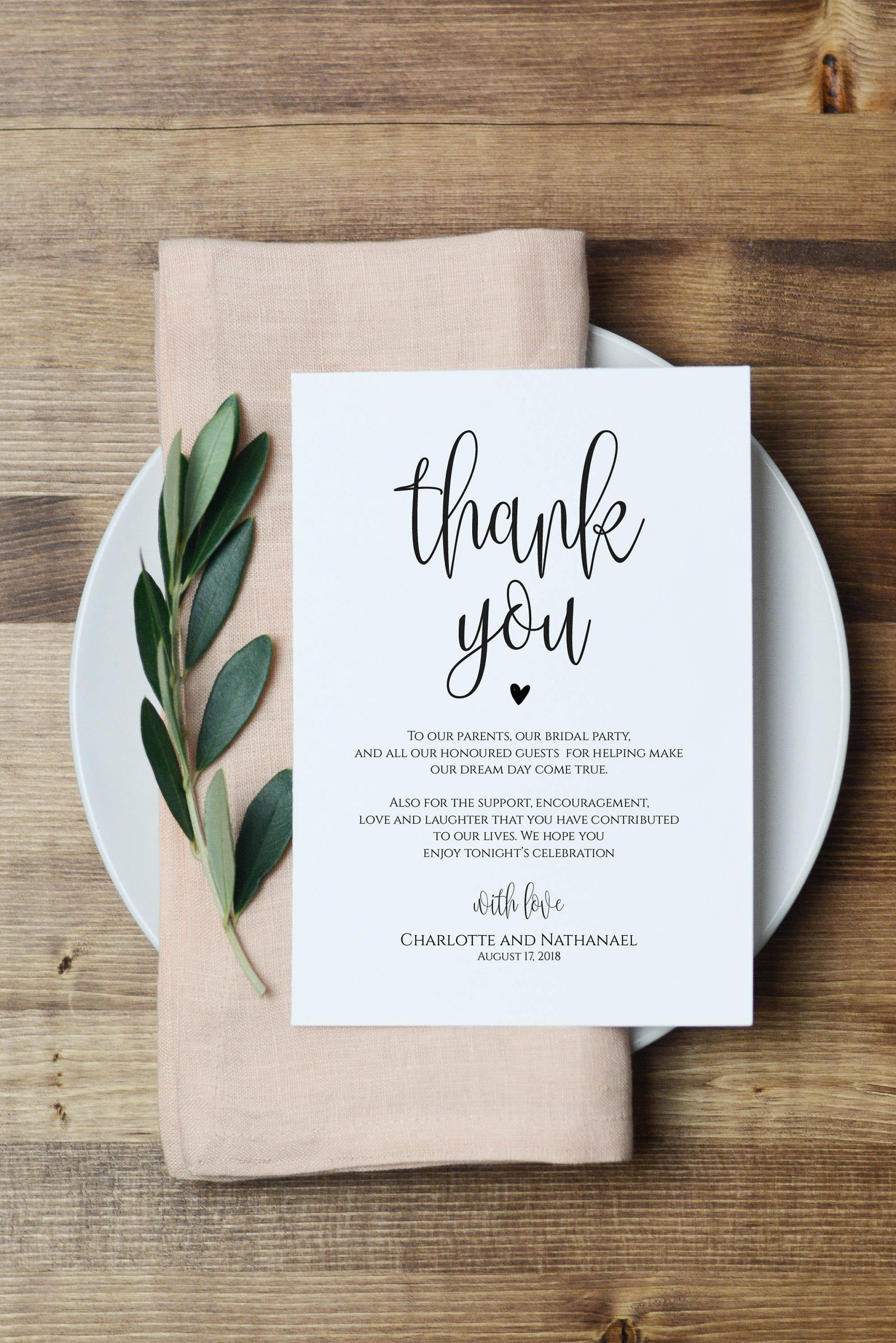 Wedding Thank You Note Printable Thank You Card Template Etsy Thank You Card Template Wedding Thank You Wedding Thank You Cards