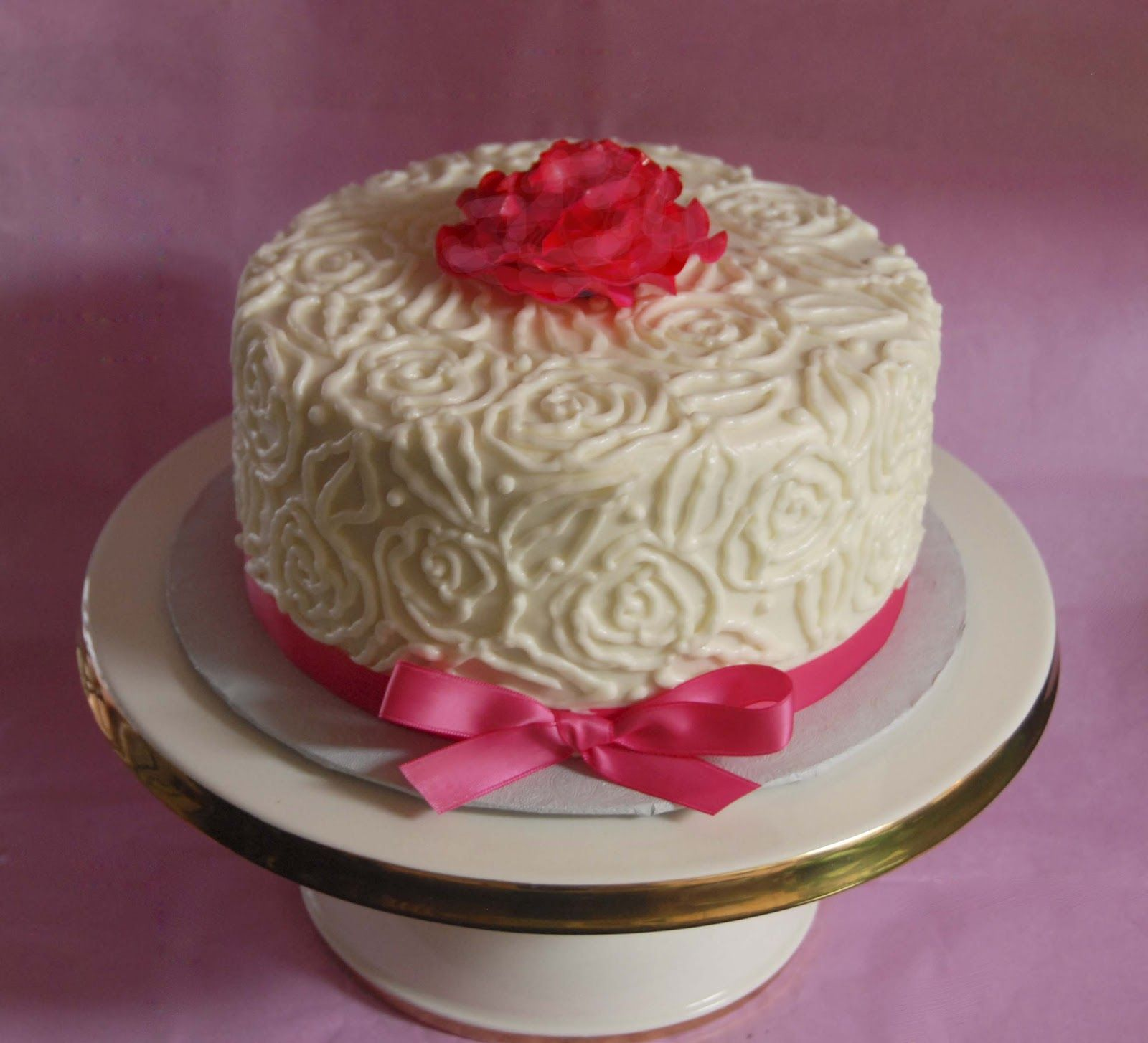 Birthday Cake - Buttercream With Ribbon