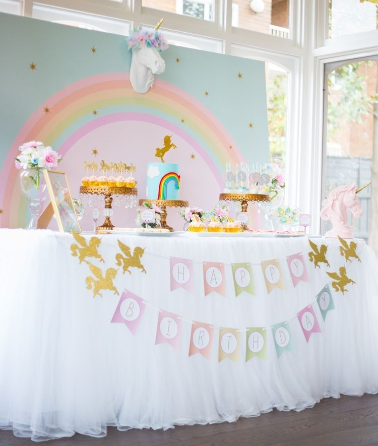 Unicorn table decor Birthday Party Ideas for Kids Pinterest