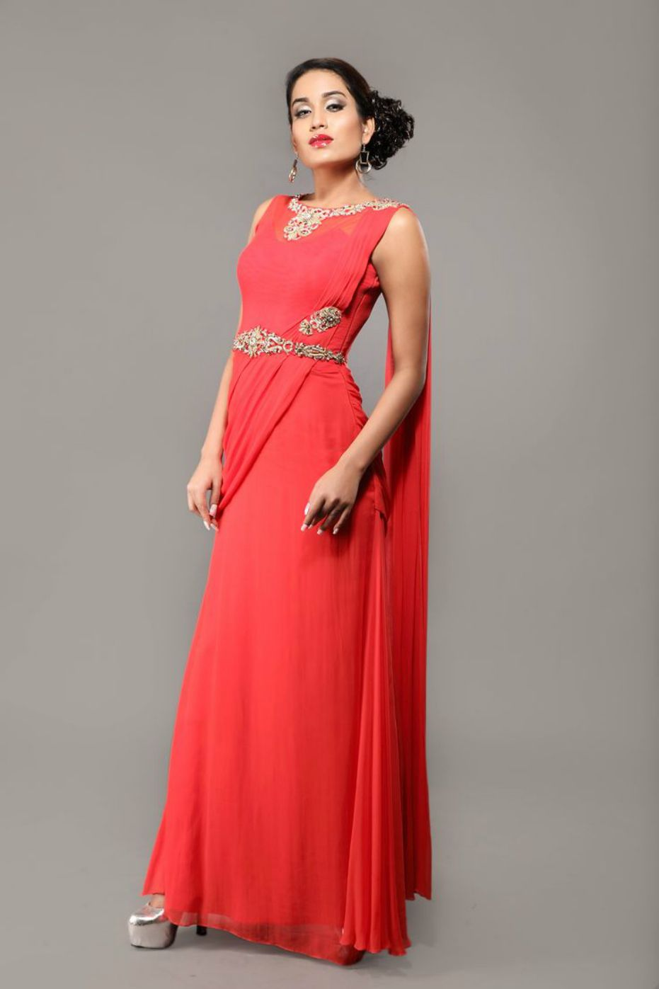 drape style Christmas gowns | Red | Pinterest | Gowns, Floor length ...