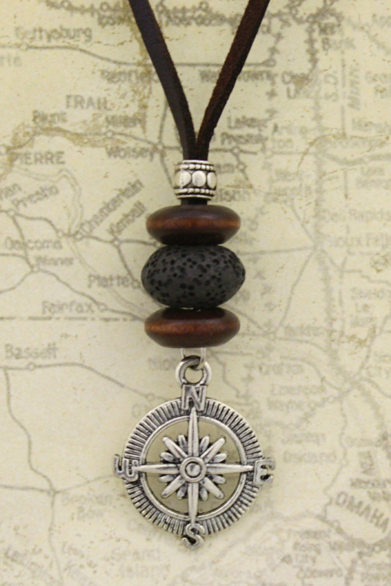 Photo of Compass Essential Oil Diffuser Necklace- 18-20