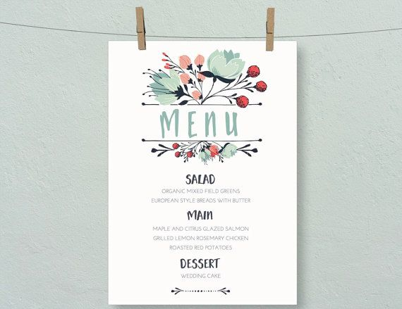 Boho Floral Country Wedding Menu Simple Event By Letterloftprints