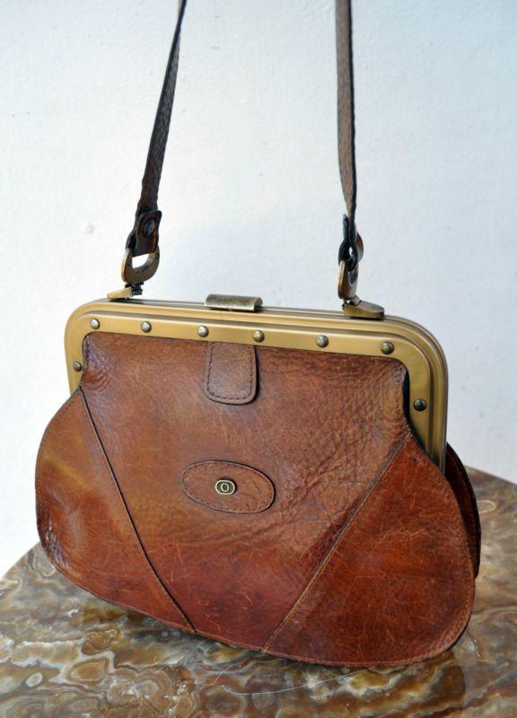Rare Vintage OROTON Genuine FullGrain Cowhide Leather Handbag Shoulder Bag  Purse  c1e10d8d640de