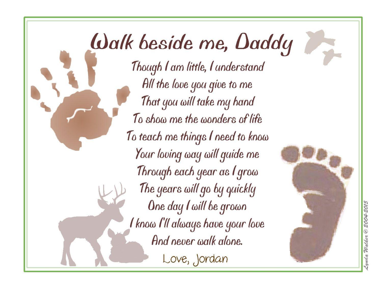 walk beside me daddy poem baby child handprint footprint 8x10