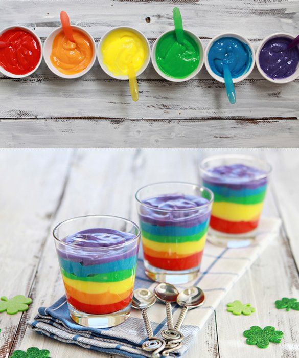 Rainbow Pudding - use gel food coloring for the best result ...