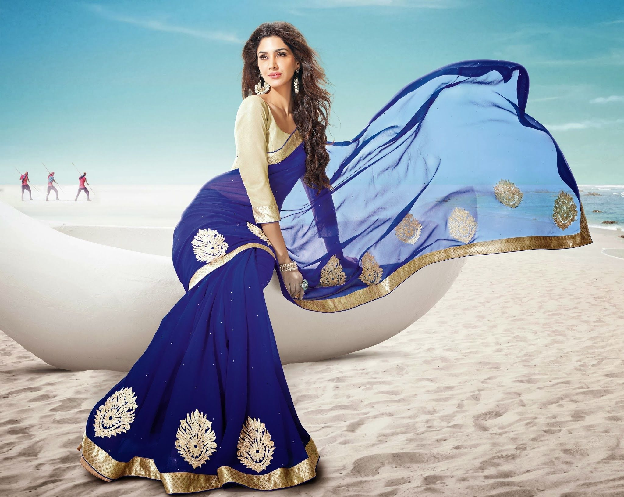This Stunning Electric Blue Saree Now Available At Seasons
