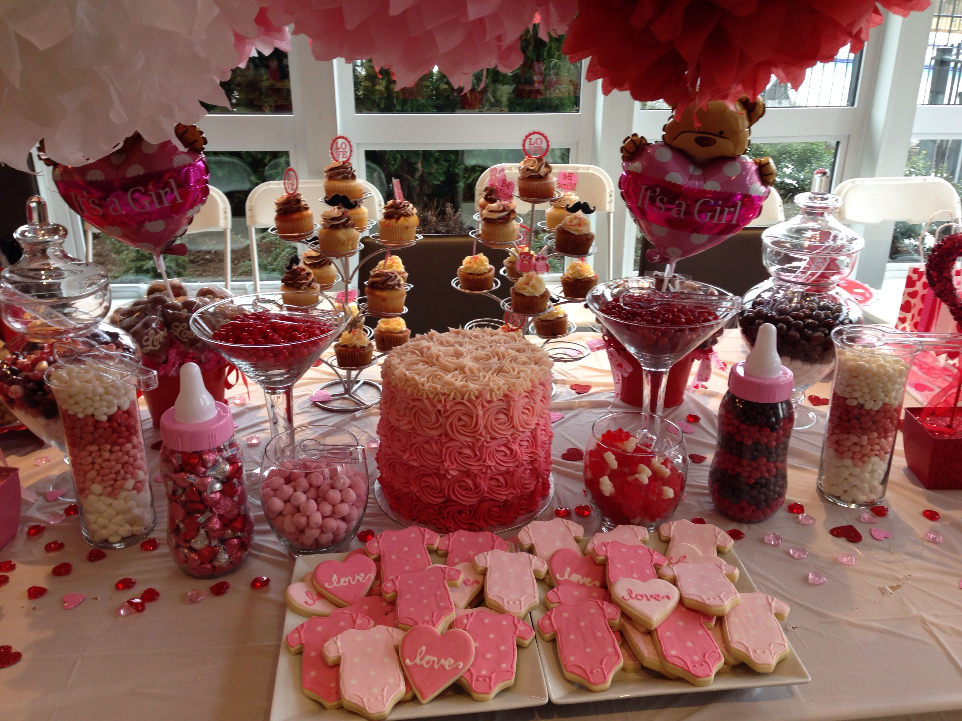 Valentines Day Themed Babyshower Dessert Table Valentines Baby