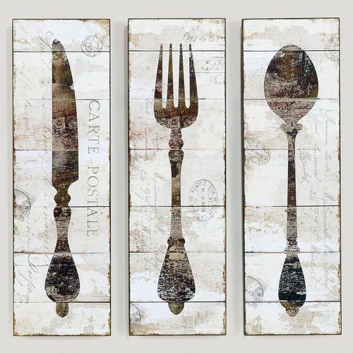 Natalie Wood Panel Wall Art, Spoon, Fork, and Knife- Informal ...