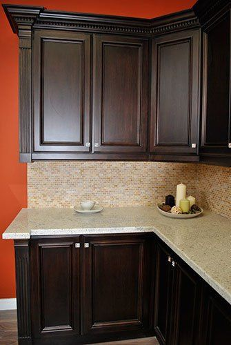 Dark Stained Maple Kitchen Cabinets Granit Countertop Real