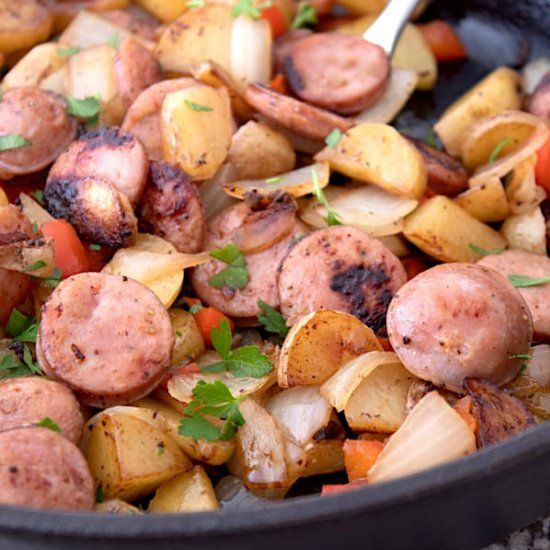 Sausage and Potato Skillet  #food #foodie #foodphotography #yummy #delicious #foodblogger #foodlover #foodgasm #dinner #healthyfood #foodies #lunch #restaurant #tasty #eat #healthy #homemadenbsp #breakfast