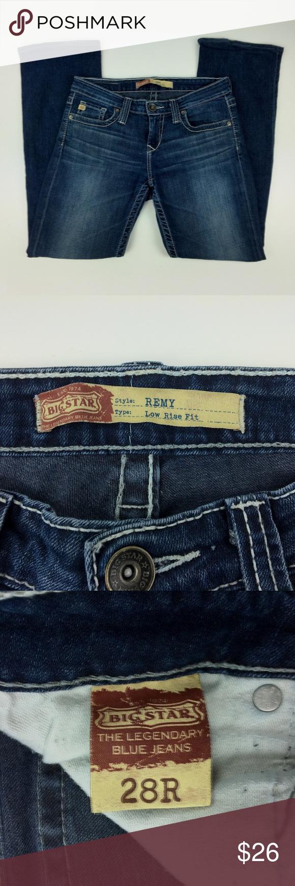 Big Star Blue Denim Remy Low Rise Fit Jeans Ladies Size 26r Pants