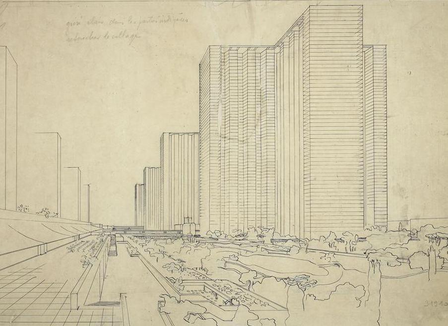 le corbusier une ville contemporaine dessin publi dans urbanisme 1925 architecture et. Black Bedroom Furniture Sets. Home Design Ideas