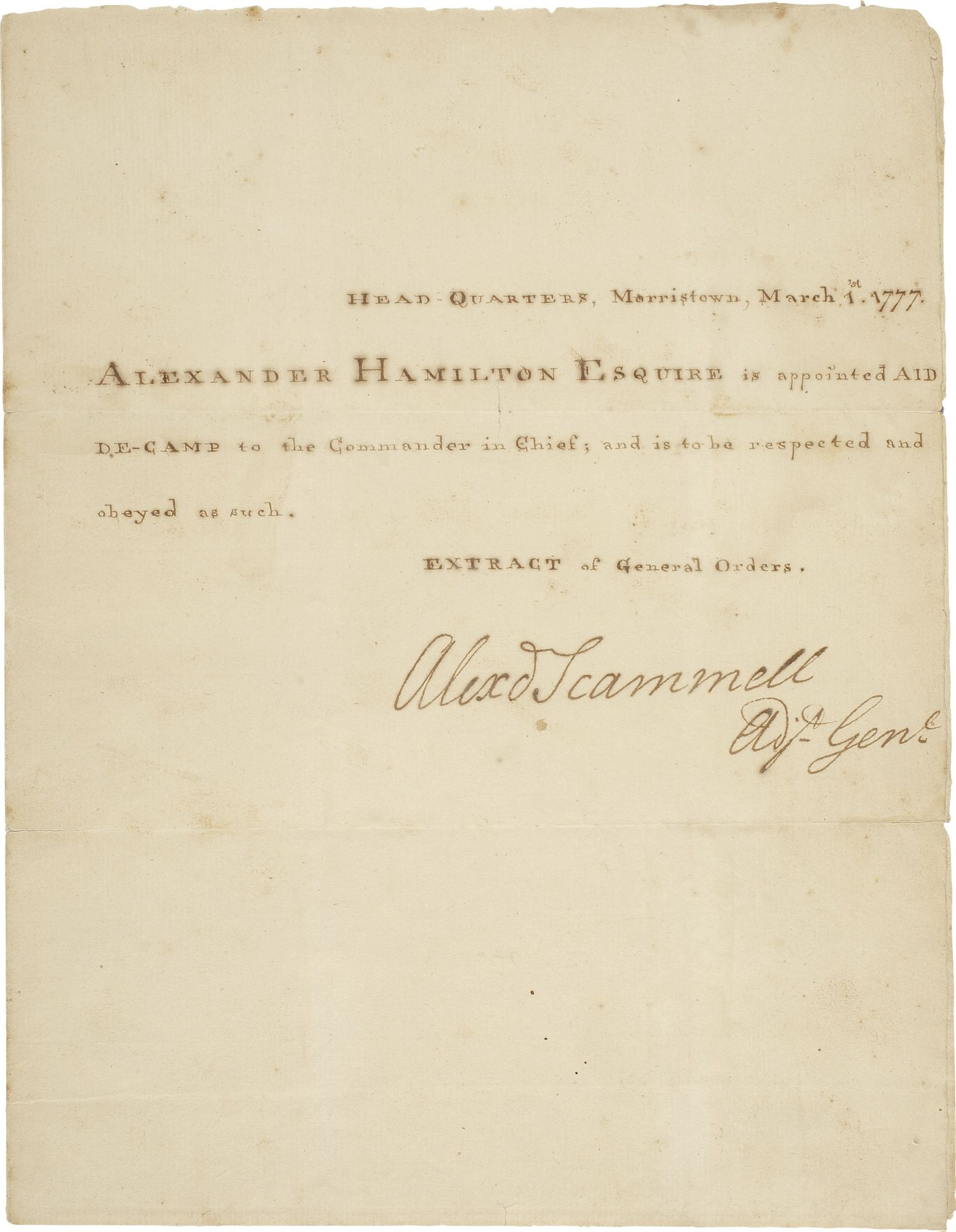 Alexander Hamilton S Appointment As Aide De Camp To General George