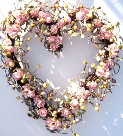 Pink Rose Heart Wreath Heart Shaped Wreaths Heart Shaped Wire Wreath Wreaths