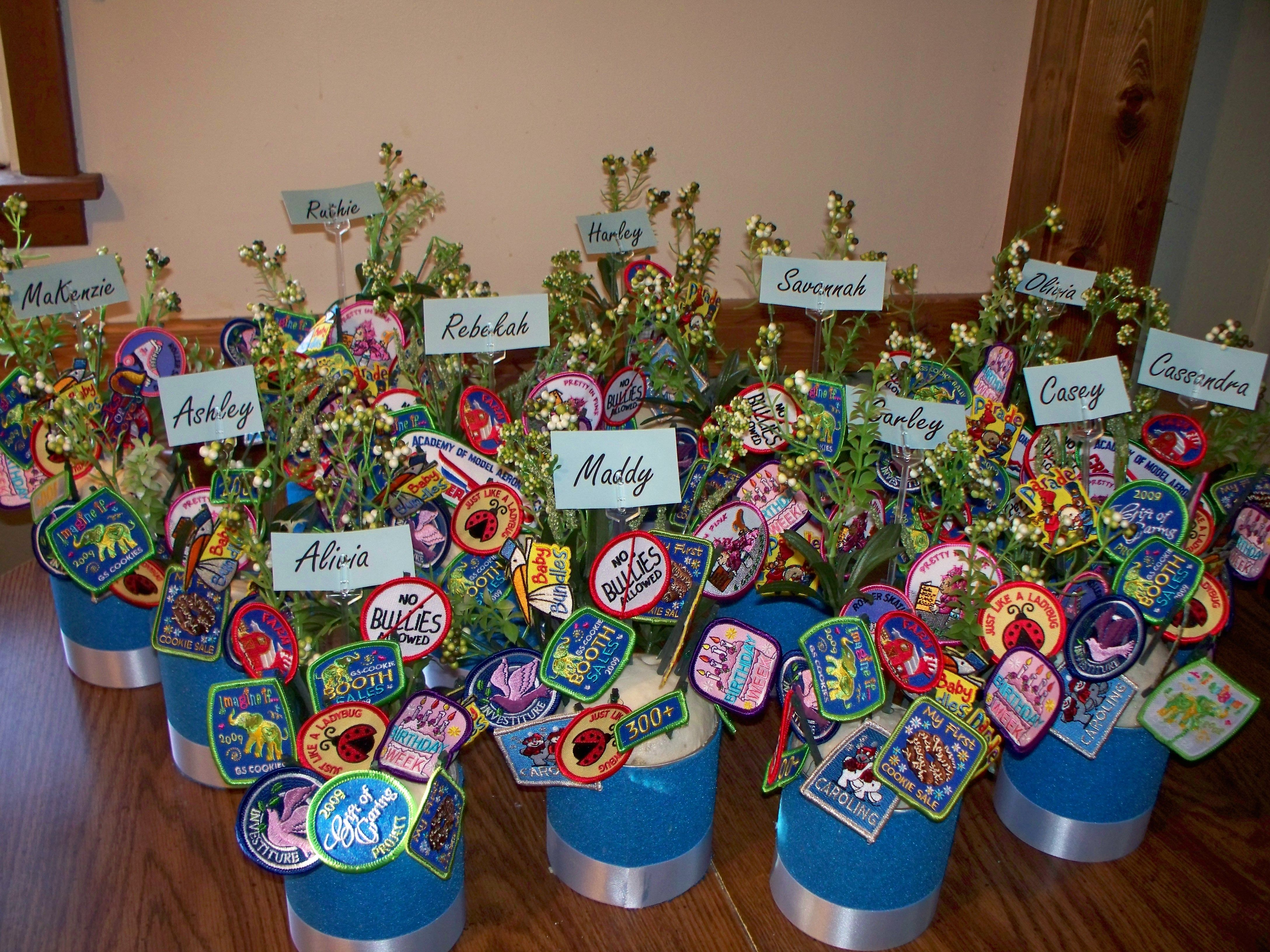 I made these 39 patch bouquets 39 for our court of awards a for Award ceremony decoration ideas