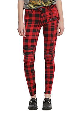 09740377460 Blackheart Red   Black Plaid Super Skinny Pants in 2019