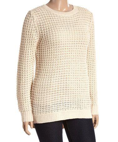Another great find on #zulily! Beige Crochet Pullover Sweater - Plus #zulilyfinds