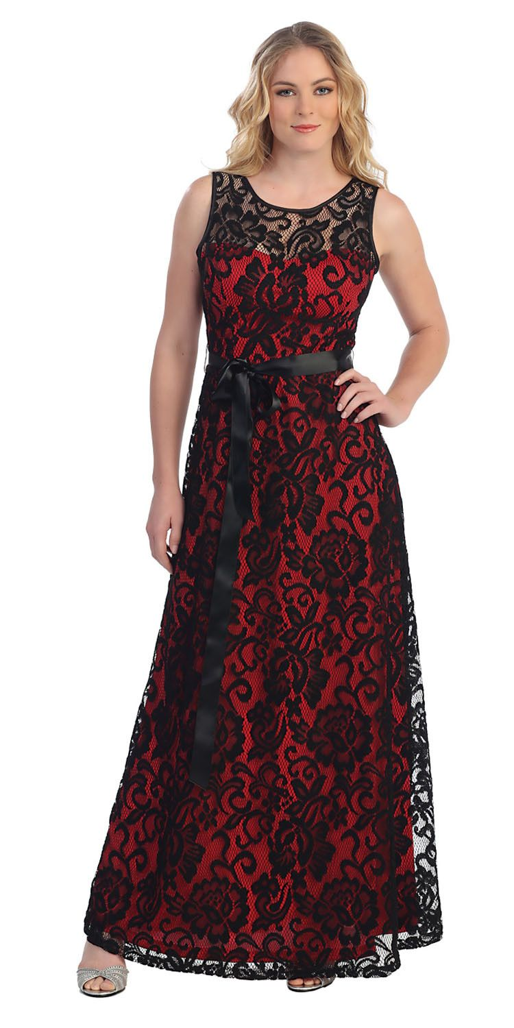 Black gold lace dress long wide straps sleeveless ribbonbow lace