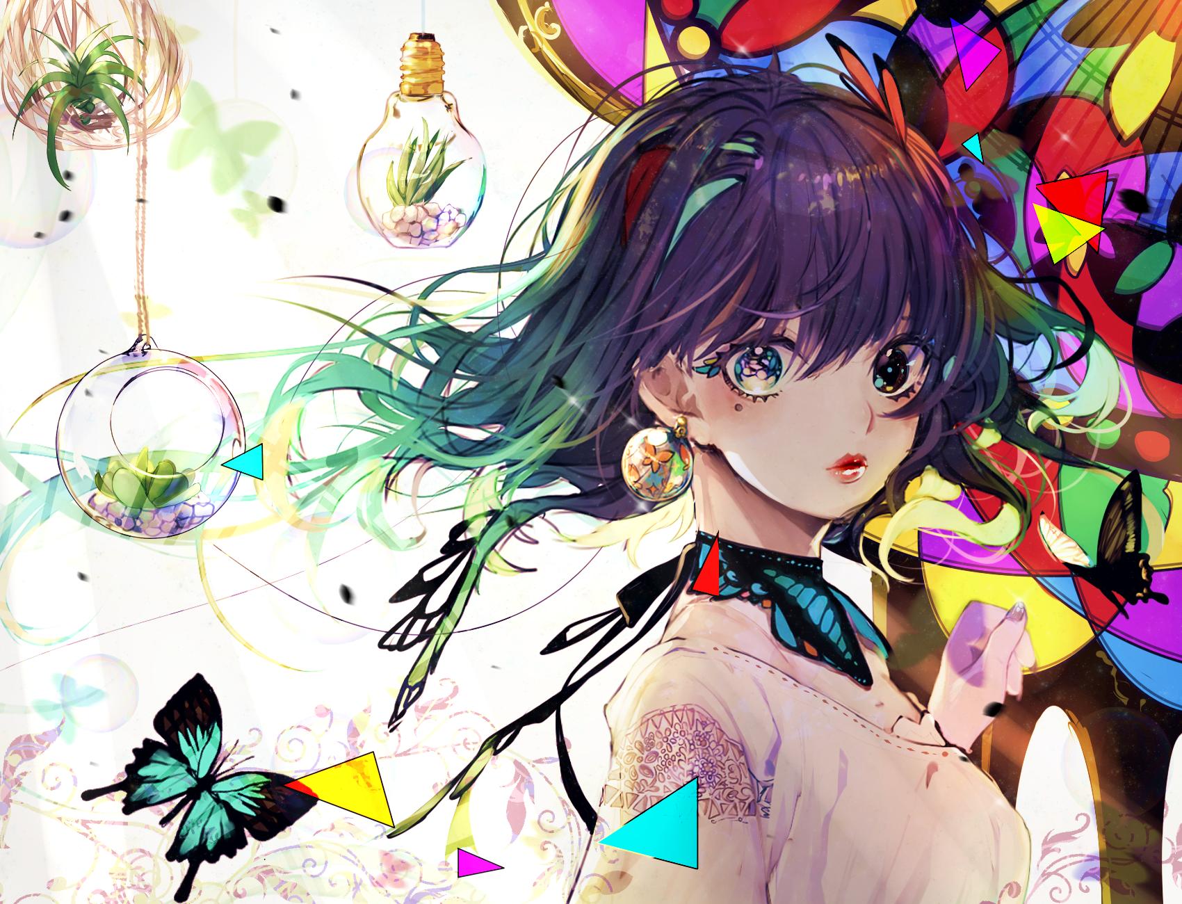 Anime art colorful eyes and hair anime chibi manga anime kawaii anime