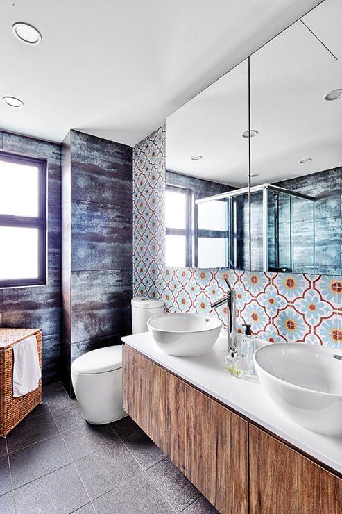 We love the industrial mid century modern peranakan oriental vibe of this home singapore Modern bathroom design singapore